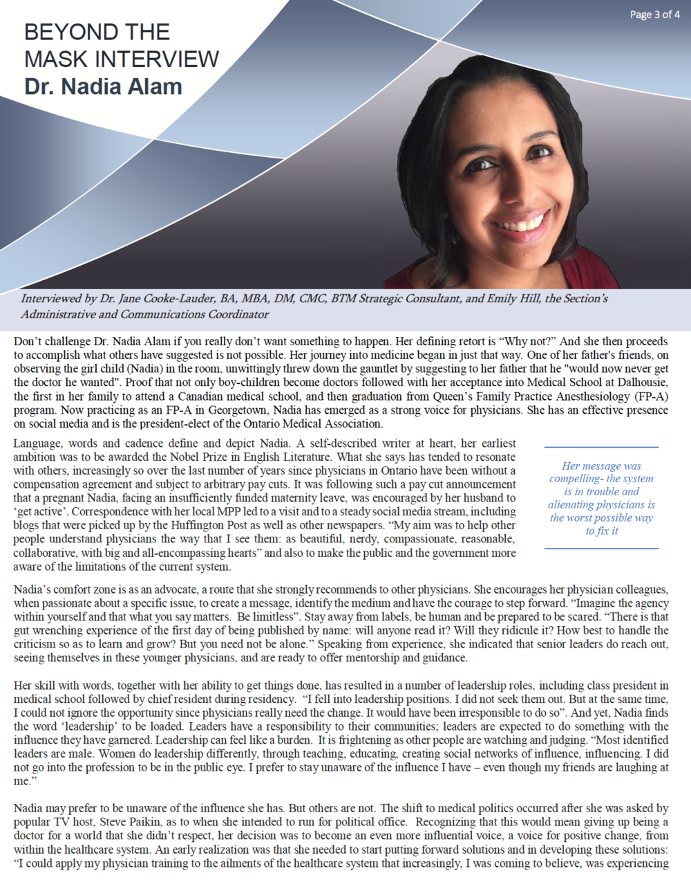 Dr. Nadia Alam - Winter 2018 Interview