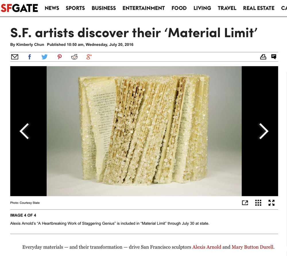 I am excited and grateful for the article on Material Limit in the SF Chronicle and the SF/Arts NY Times insert!