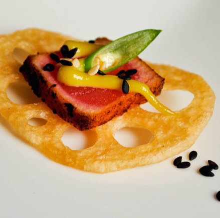 Sashimi Ahi Tuna on Lotus Root Chip