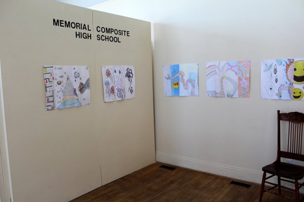 Exhibit shot of Exquisite Corpse by Memorial Composite High School Students. Photo Credit: Robin Lillywhite