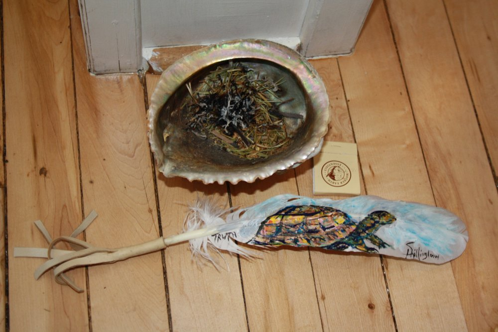 Smudge bowl and painted feather by Heather Shillinglaw.