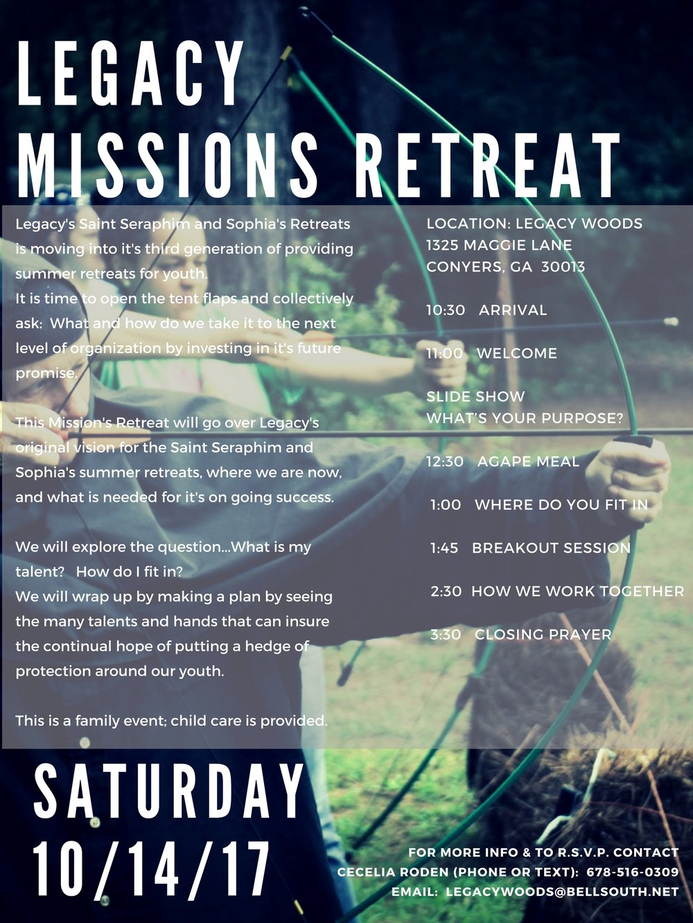 LEGACY'S MISSIONS RETREATLegacy's Saint Seraphim and Sophia's Retreats is moving into it's third generation of providing summer retreats for youth. It is time to open the tent flaps and collectively ask- What and how.jpg