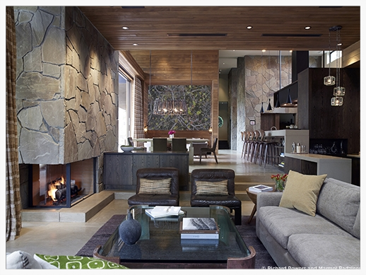 interior perspective - living room                     image: marmol radziner