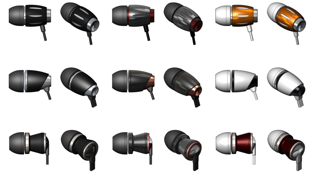 CAD images showing different earbuds designs with various material and color choices