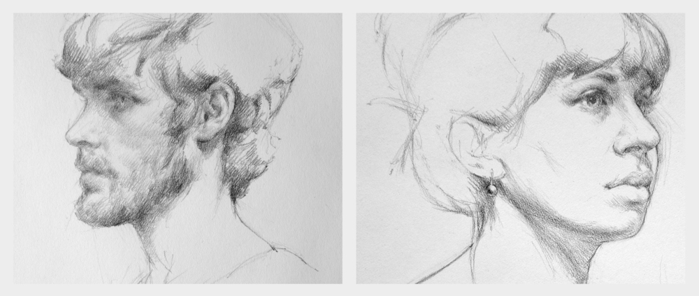 [Portrait sketches of David Baird & Ellie Noir - Summer 2014]
