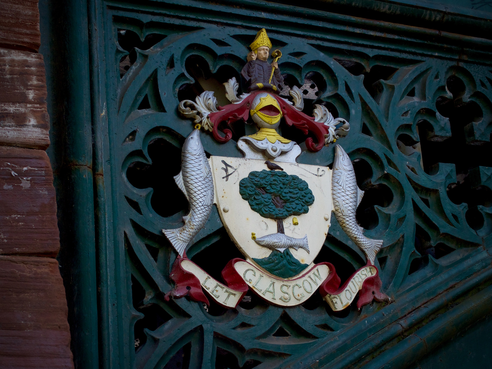 City coat of arms on a bridge over the Kelvin.