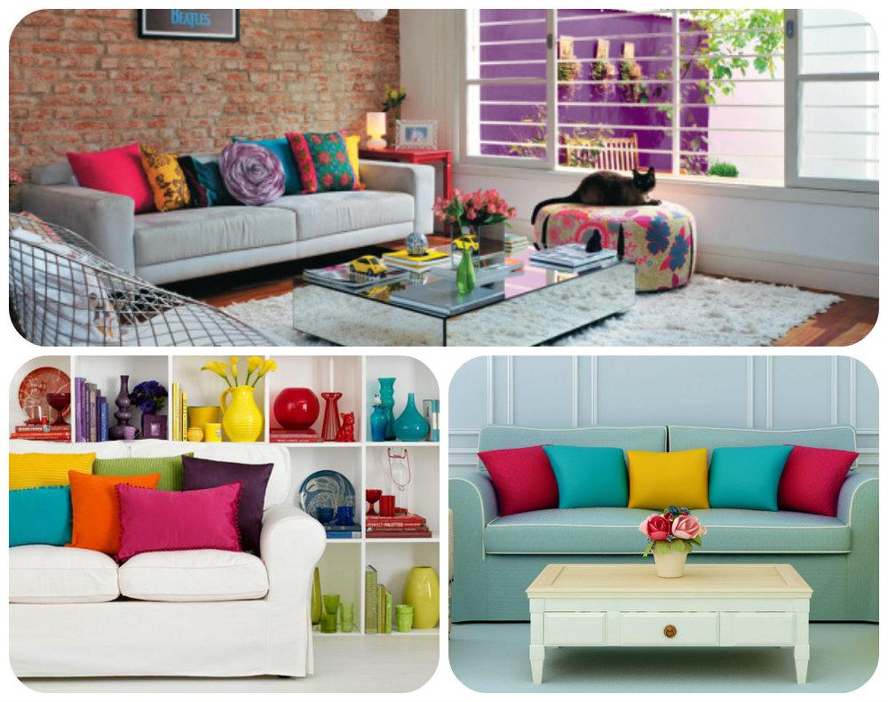 Almofadas coloridas, ambiente mais alegre e divertido.