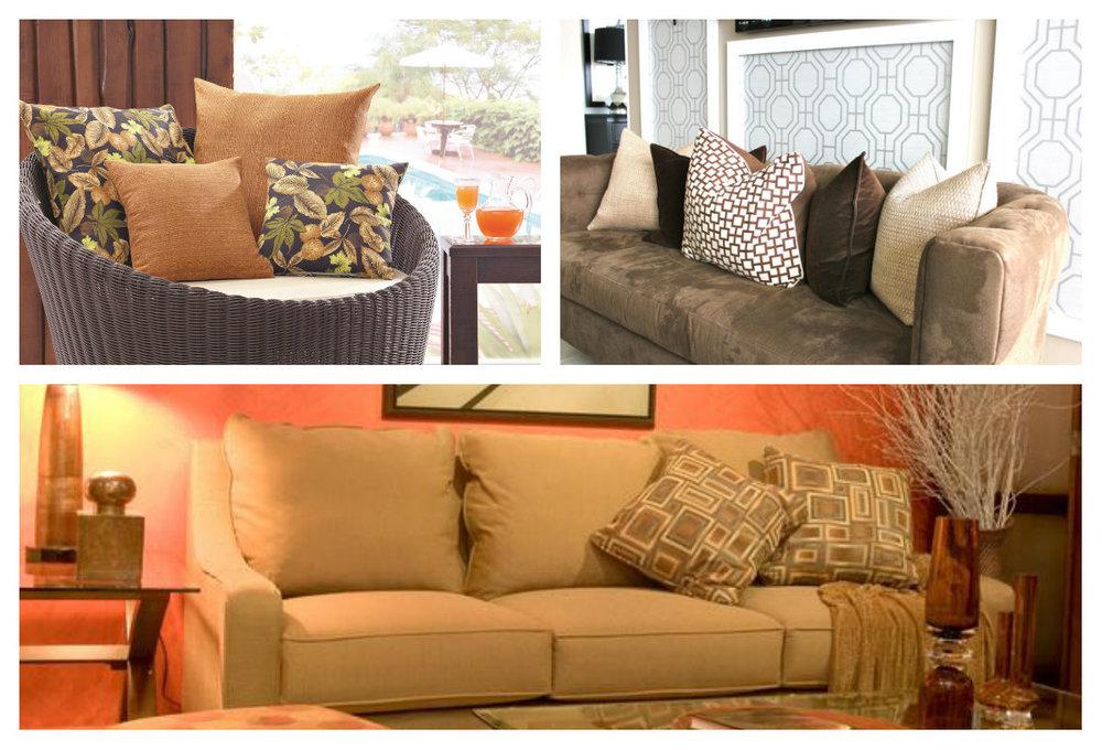 Almofadas clássicas - cores e estampas neutras tornam o ambiente mais aconchegante.
