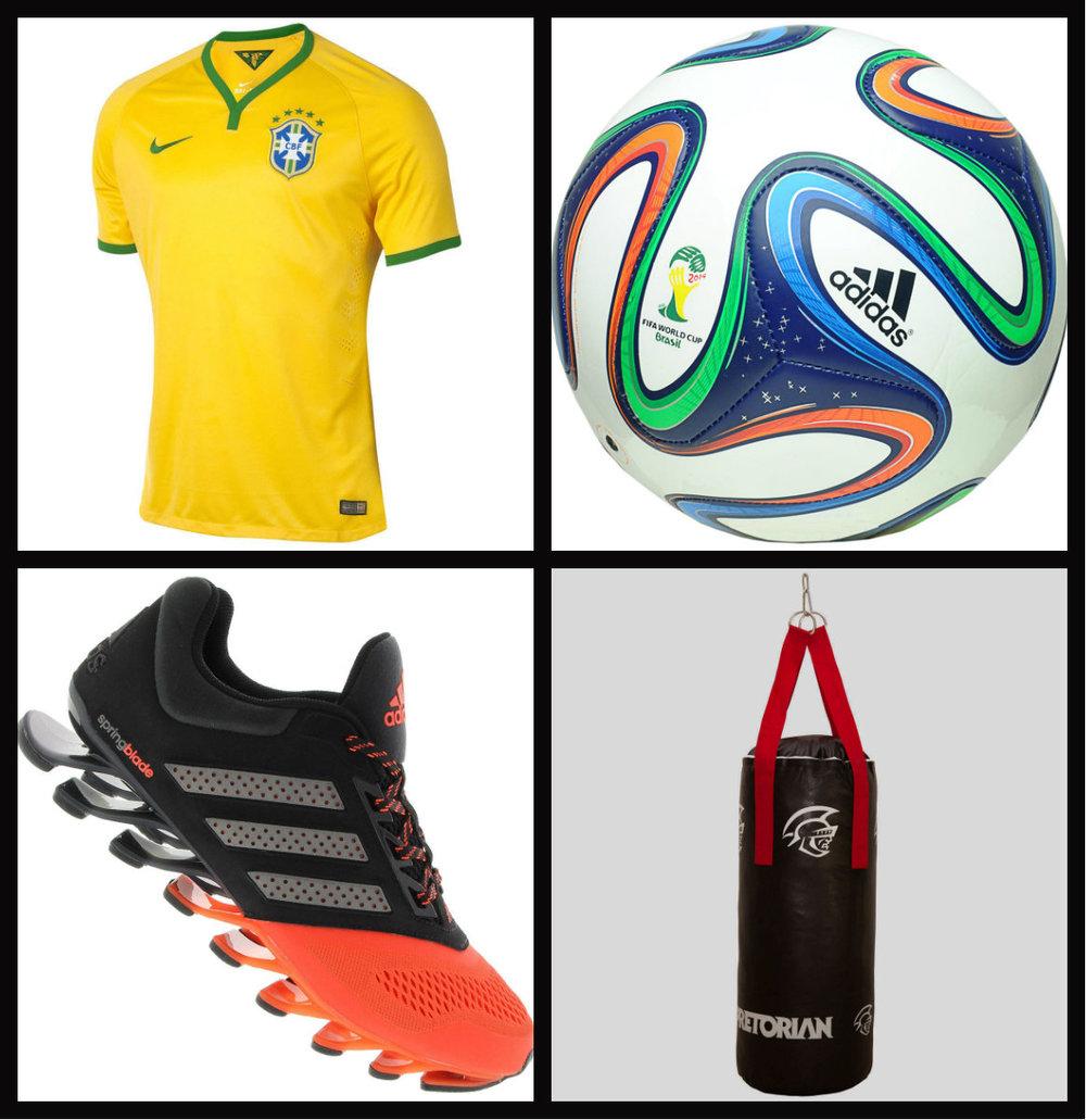 Sugestõesde presentes esporte - Camisa Brasil ~Bola de futebol ~Tenis de corrida ~Saco para treino.