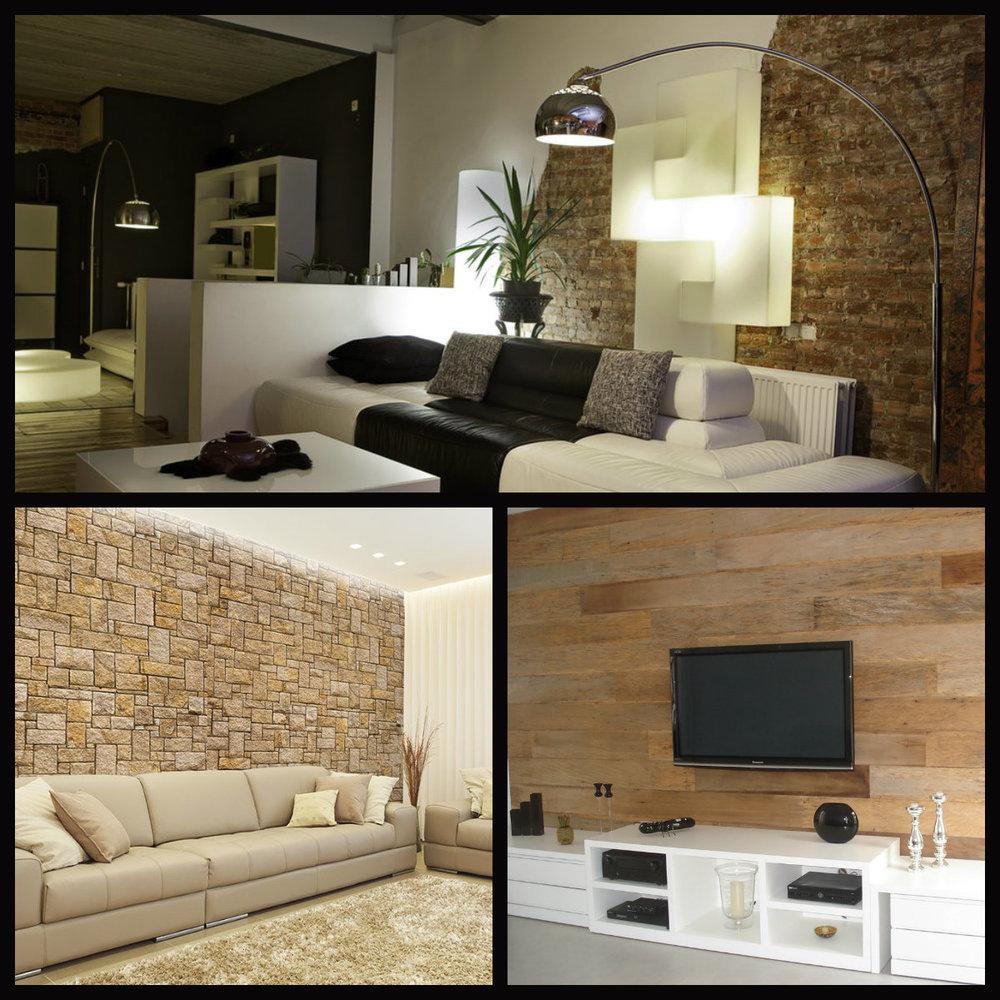 Papeis de parede aplicados com diferentes texturas - tijolo aparente, pedras e madeira.