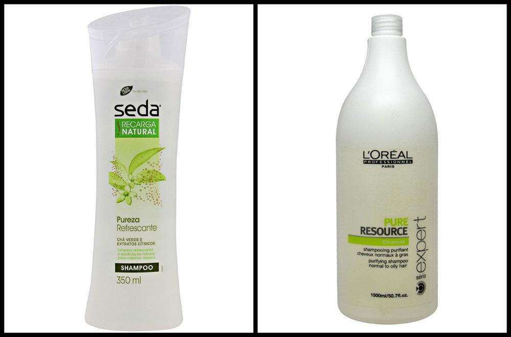 Shampoo Seda Pureza Refrescante e Shampoo L'oreal Pure Resource