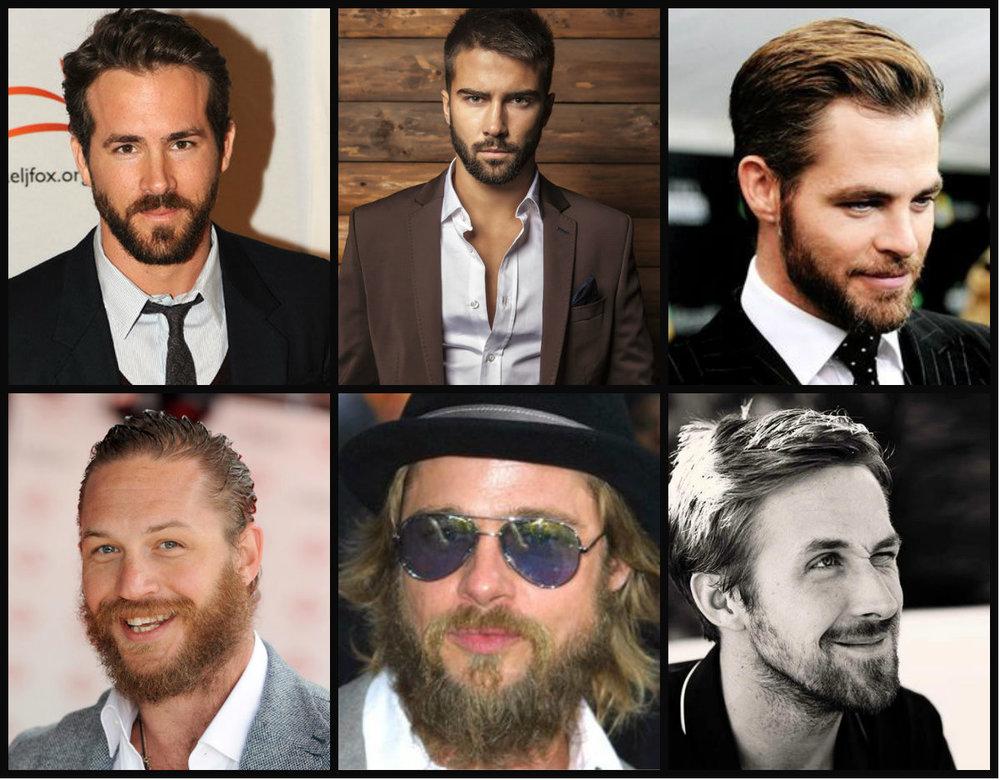 Nas 3 primeiras fotos exemplos de barbas bonitas, aparadas e bem cuidados e nas 3 fotos de baixo, barbas mal cuidadas e relaxadas! (nunca imaginei colocar o Brad Lindo Pitt numa lista negra)