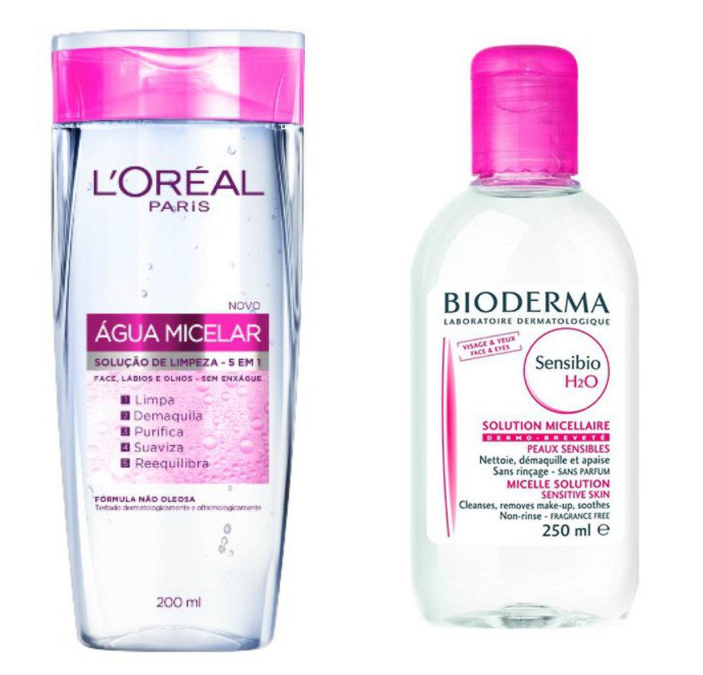 Água Micelar L'Oreal - R$ 29,90 Bioderma - R$ 66,83