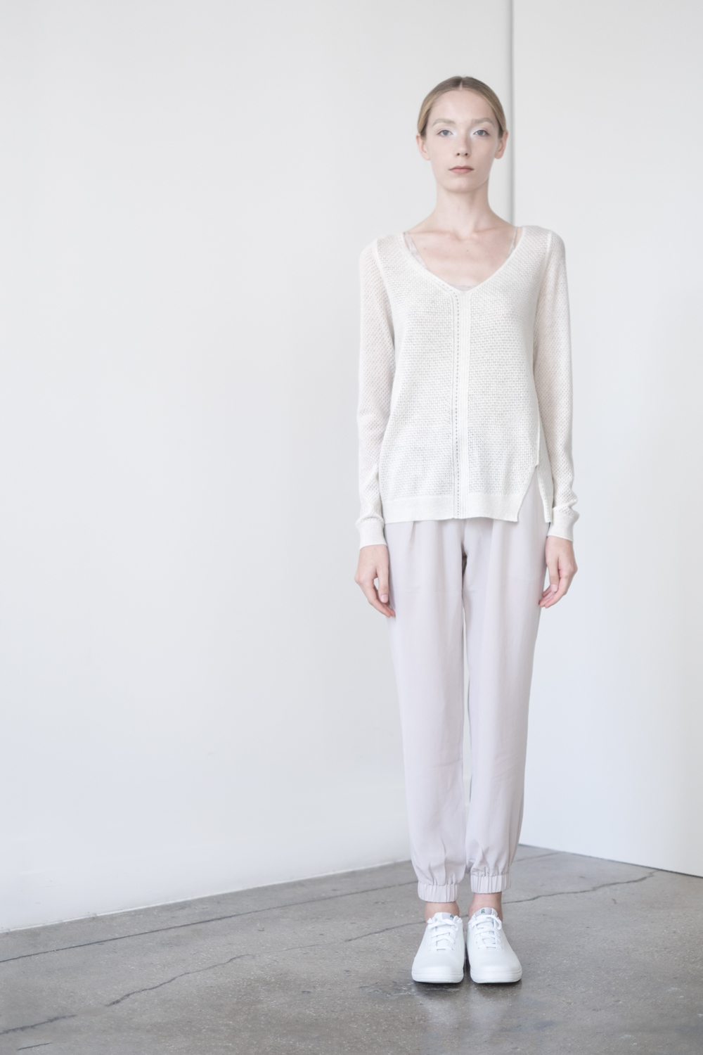 "LOOK 17   TOP:   2276  / Bone   -           0   0   2015-09-15T00:56:00Z   1   9   53   Rick Owens   1   1   61   14.0                       Normal   0             false   false   false     EN-US   JA   X-NONE                                                                                                                                                                                                                                                                                                                                                                               /* Style Definitions */ table.MsoNormalTable 	{mso-style-name:""Table Normal""; 	mso-tstyle-rowband-size:0; 	mso-tstyle-colband-size:0; 	mso-style-noshow:yes; 	mso-style-priority:99; 	mso-style-parent:""""; 	mso-padding-alt:0in 5.4pt 0in 5.4pt; 	mso-para-margin:0in; 	mso-para-margin-bottom:.0001pt; 	mso-pagination:widow-orphan; 	font-size:12.0pt; 	font-family:Cambria; 	mso-ascii-font-family:Cambria; 	mso-ascii-theme-font:minor-latin; 	mso-hansi-font-family:Cambria; 	mso-hansi-theme-font:minor-latin;}       Audrey open mix lace stitch pullover, in fine gauge cashmere. WS: 132    BOTTOM:   2203  / Dove -    Jogger pants in 100% Silk.  WS: 123"