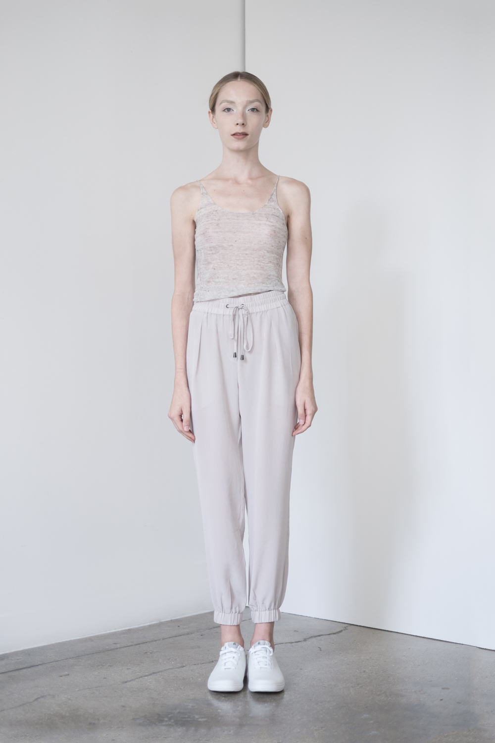 "LOOK 19   TOP:   2289  / Sand -           0   0   2015-09-15T00:56:00Z   1   5   33   Rick Owens   1   1   37   14.0                       Normal   0             false   false   false     EN-US   JA   X-NONE                                                                                                                                                                                                                                                                                                                                                                               /* Style Definitions */ table.MsoNormalTable 	{mso-style-name:""Table Normal""; 	mso-tstyle-rowband-size:0; 	mso-tstyle-colband-size:0; 	mso-style-noshow:yes; 	mso-style-priority:99; 	mso-style-parent:""""; 	mso-padding-alt:0in 5.4pt 0in 5.4pt; 	mso-para-margin:0in; 	mso-para-margin-bottom:.0001pt; 	mso-pagination:widow-orphan; 	font-size:12.0pt; 	font-family:Cambria; 	mso-ascii-font-family:Cambria; 	mso-ascii-theme-font:minor-latin; 	mso-hansi-font-family:Cambria; 	mso-hansi-theme-font:minor-latin;}       Sleeveless fine gauge Italian linen.     BOTTOM:   2203  / Dove -    Jogger pants in 100% Silk."