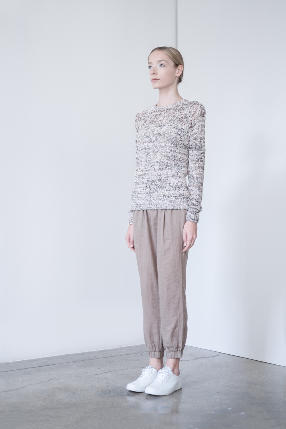 LOOK 16   TOP:  2300 / Marled Timber -  Briley open mix lace stitch pullover, in printed cotton,nylon.   BOTTOM:  2290 / Timber - Jogger pants in 100% Cotton woven dbl. layer gauze.