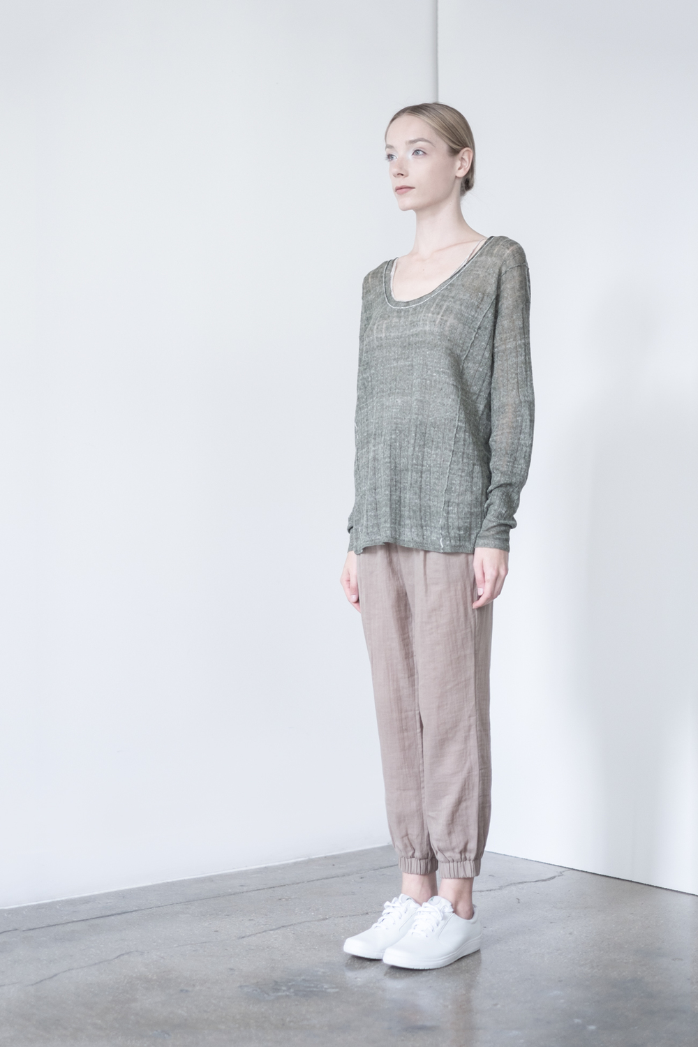 LOOK 23   TOP:  2230  / Clover   -    Scoop neck long sleeve, in fine gauge Italian linen neps.    BOTTOM:   2290  / Timber  -   Jogger pants in 100% Cotton woven dbl. layer gauze.