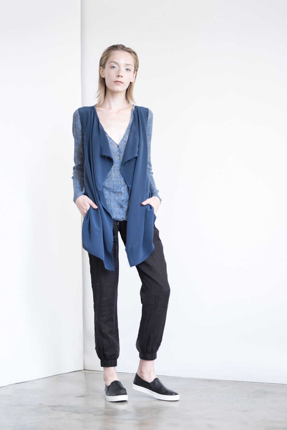 LOOK 38   TOP:   2279  / Denim   -     Linen Vee cardigan with silk crepe de chine drape front.   BOTTOM:   2290  / Noir  -   Jogger pants in 100% Cottong woven dbl. layer gauze.