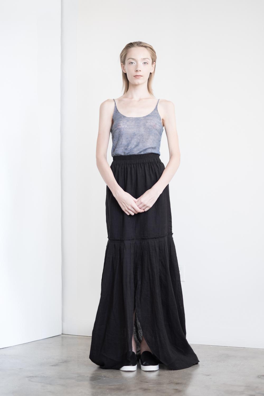 LOOK 49a   TOP:  2289 / Denim  - Sleeveless fine gauge Italian linen.   BOTTOM:  2291 / Noir - Long maxi skirt also can be worn as strapless dress, in crinkle woven 2-layer cotton gauze.