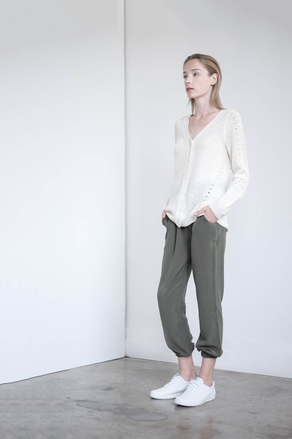 LOOK 33   TOP:   2269  / Bone -     Fisherman rib vee cardigan    BOTTOM:   2203  / Clover -    Jogger pants in 100% Silk.