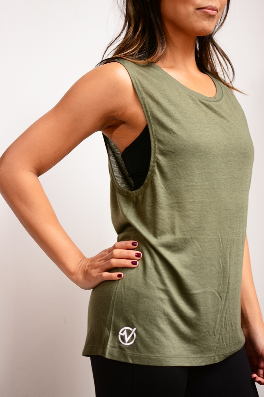 Women's Basic Muscle Tank - SKU: W8803MIN QTY 15 / Any Color - Any Size$13.20-$15.40COLORS: Black, White, Military Green (Pictured)Sizes: S, M, L, XL, 2XL