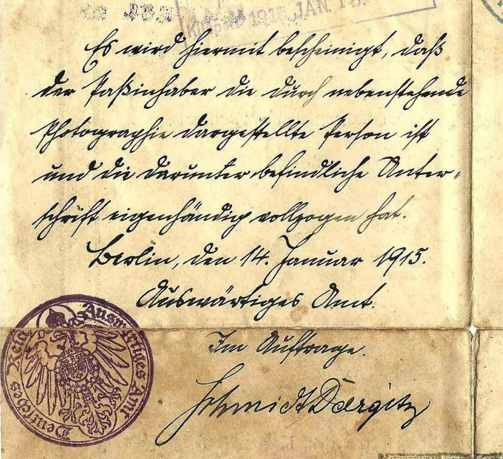 Identitätsbestätigung eines Passinhabers (1915)