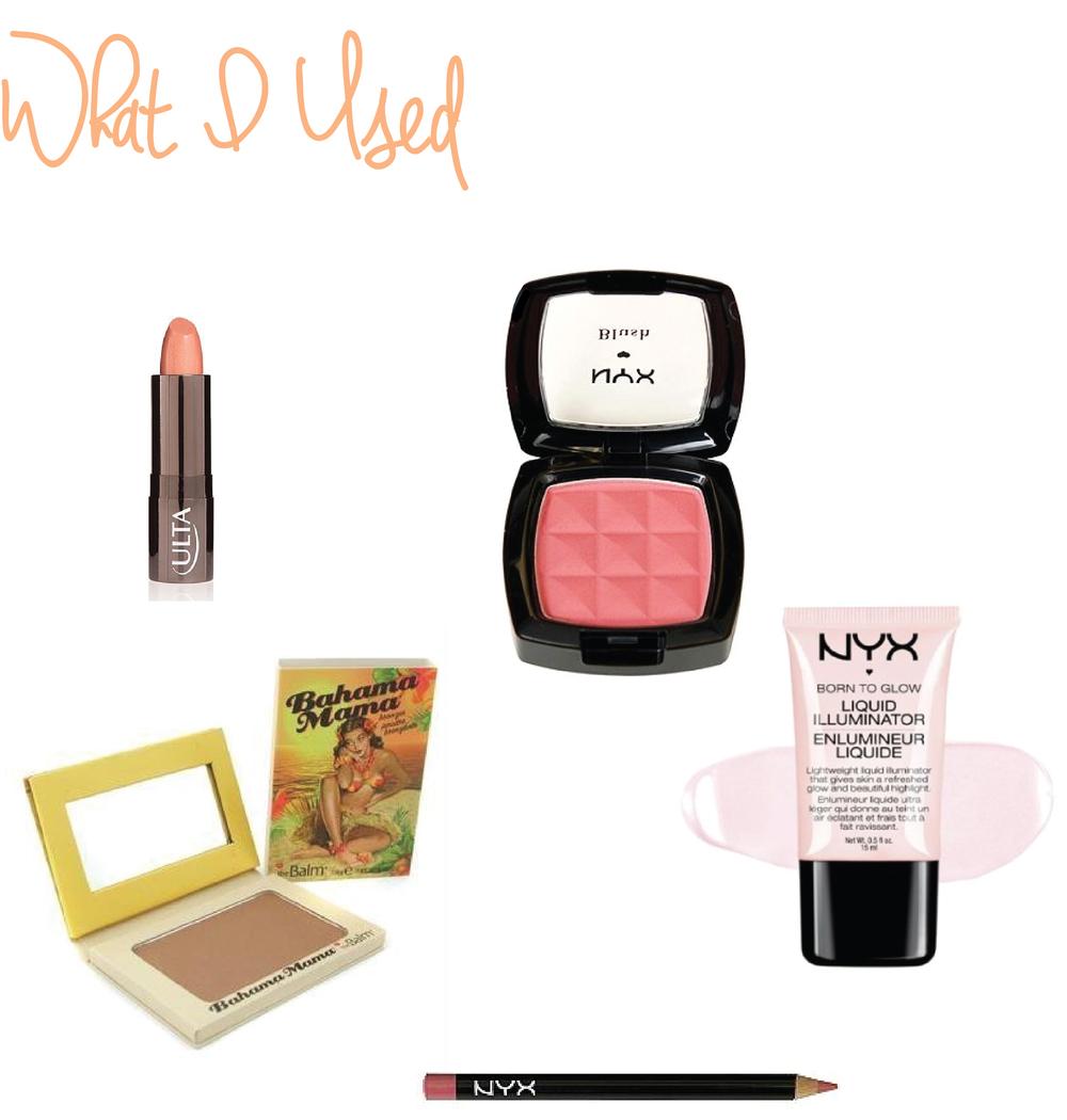 ULTA Brand Lipstick in In the Buff •NYX Powder Blush in Summer Peach • Bahama Mama Bronzer • NYX Born to Glow Liquid Illuminator • NYX Lip Pencil in Ever