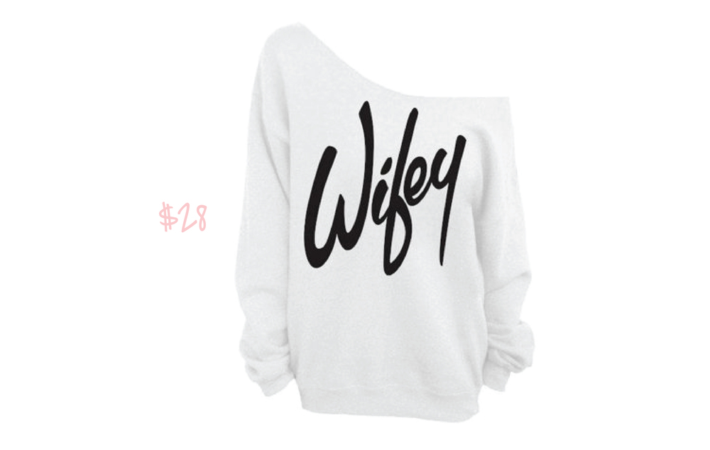 Wifey One-Shoulder Sweatshirt