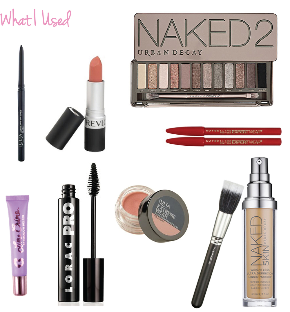 ULTA Automatic Eyeliner in Black • Revlon Lipstick in Mauve It Over • Urban Decay Naked2 Palette • Maybelline ExpertWear Eyebrow Pencils in Medium Brown • Lime Crime Eyeshadow Primer • LORAC PRO Mascara in Black • ULTA Extreme Wear Blush Mousse in Peach Glow • Urban Decay Naked Skin Foundation with my MAC 187 brush