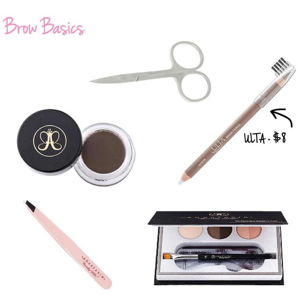 Standard Trimming Scissors • Anastasia dipbrow Pomade Brow Pot • ULTA Brow Pencil • Anastasia Beverly Hills Precision Tweezers • Anastasia Beverly Hills Beauty Express for Brows & Eyes