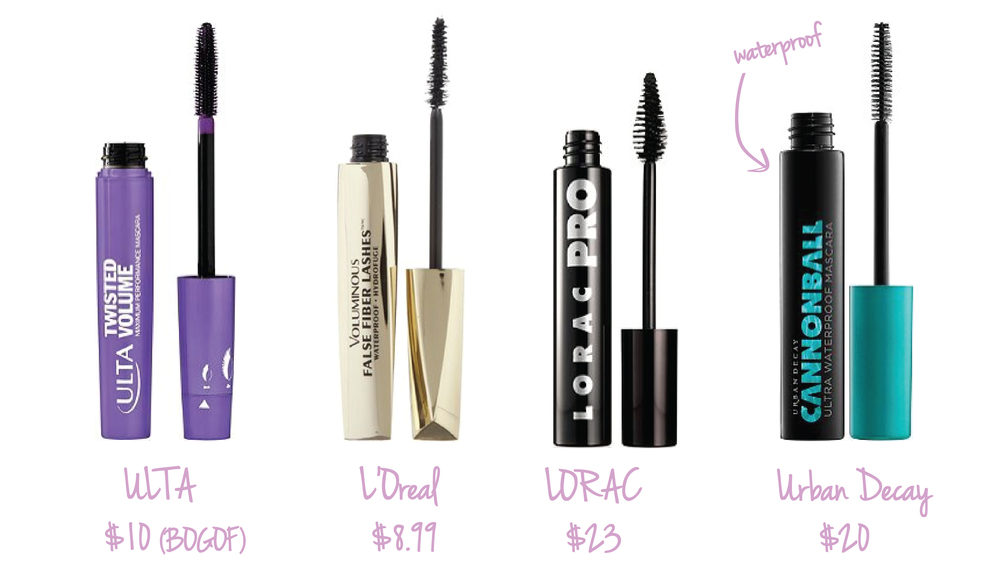 ULTA Twisted Volume Mascara  •  L'Oreal Paris Voluminous False Fiber Lashes  •  LORAC Pro Mascara  •  Urban Decay Cannonball Waterproof Mascara