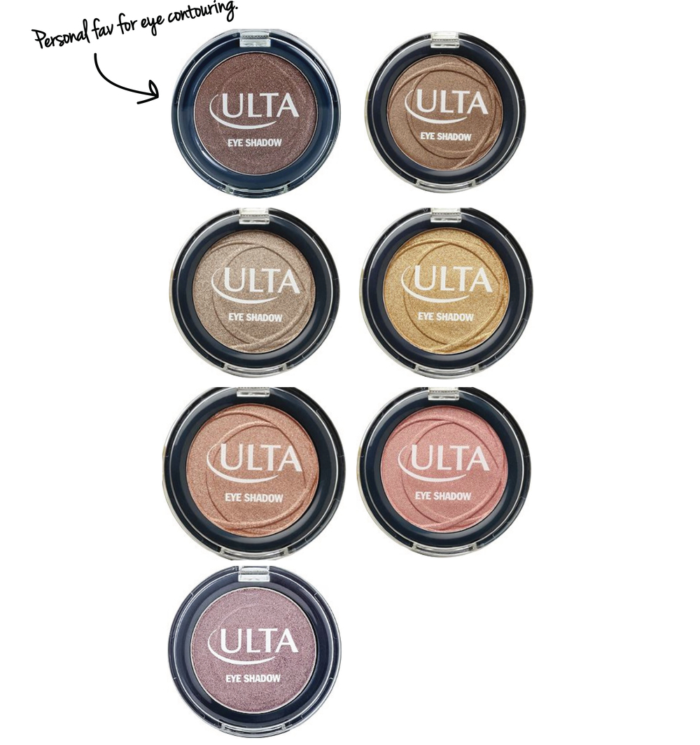 ULTA Eyeshadow   LEFT COLUMN:  Social Climber • Elegance • In The Buff • Tiara   RIGHT COLUMN: Toast • Aztec Gold • Seashell