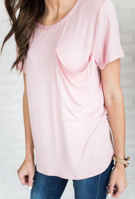 Pink Soft Pocket Tee   $42
