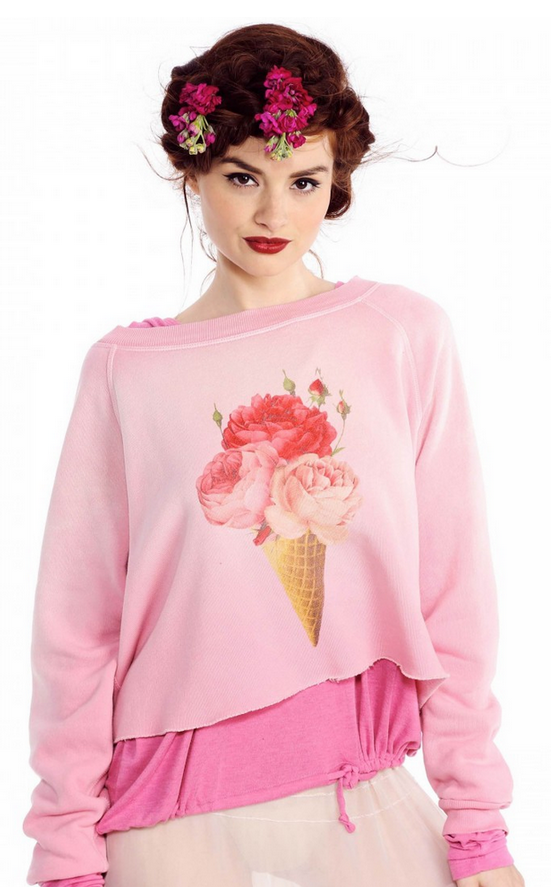 WILDFOX Floral Cone Cropped Sweater   $54  Because my love for crewnecks is forever & knows no bounds
