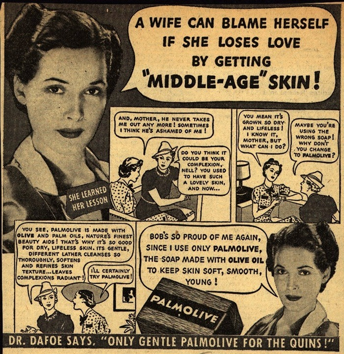 It's your fault if you get wrinkles and your husband leaves you.