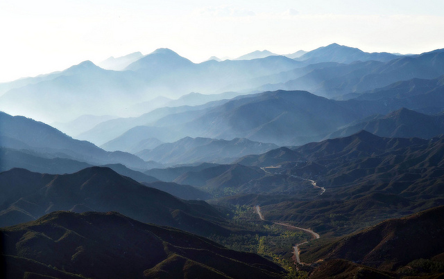 Big Tujunga Canyon and fog. The view south from the lookout.