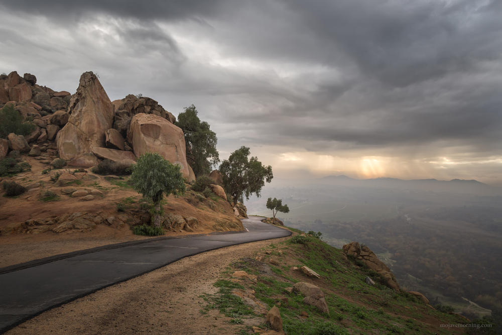 Stormy sunset on Mount Rubidoux, Riverside, California
