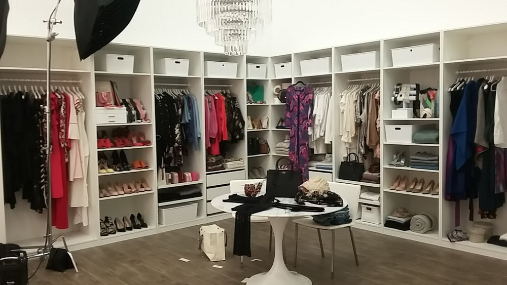 set styling - Supplying wardrobes and props for commercial and editorial scenes.Pictured Here - A closet in the making for Kate Spade New York x Rodan + Fields film shoot.