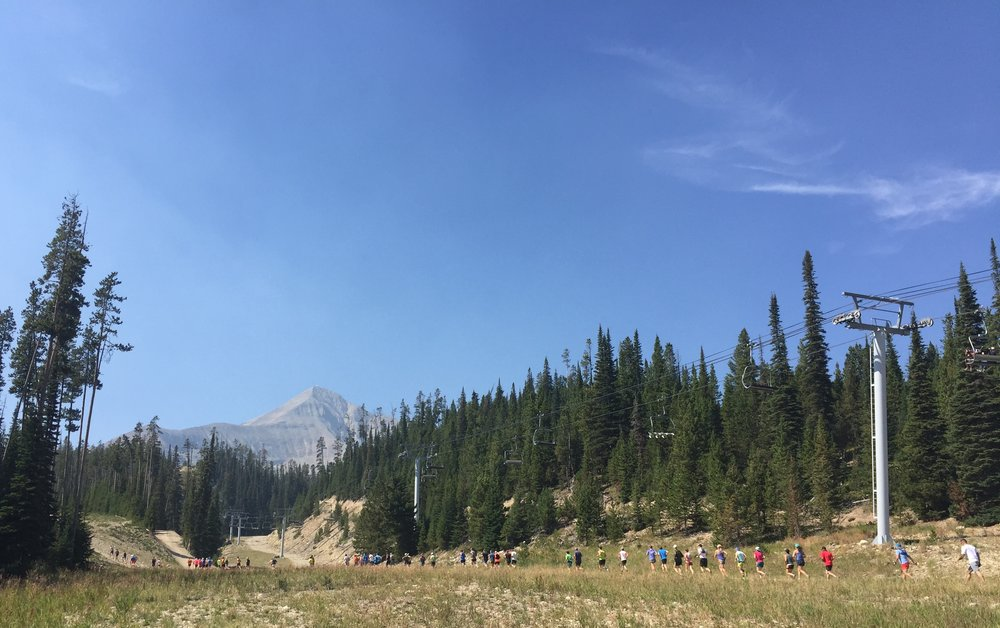"The ""runnable"" part of the VK. The runners go up to the top of that mountain, Lone Peak!"