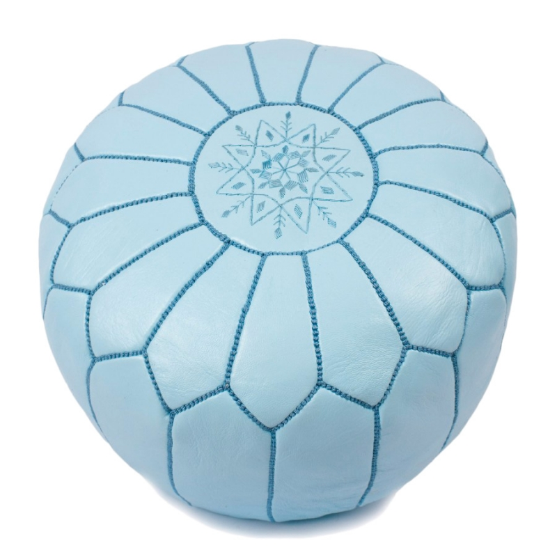 Light Blue Leather Pouf — BLUE SALVAGE | Vintage Rugs and Handmade ...