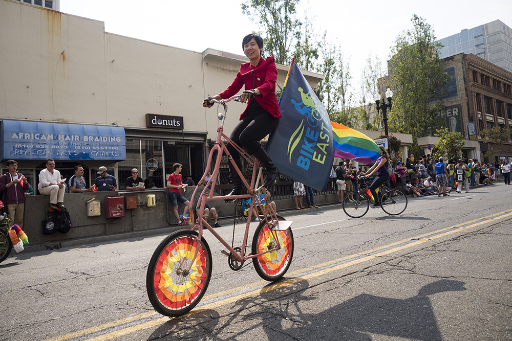 Several Bikes paraded down the streets of Oakland