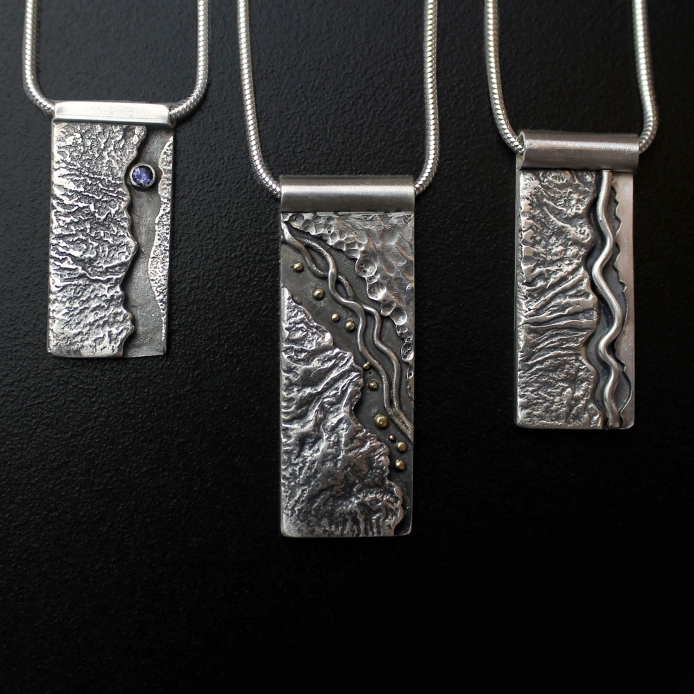 Textured Mountain Pendants