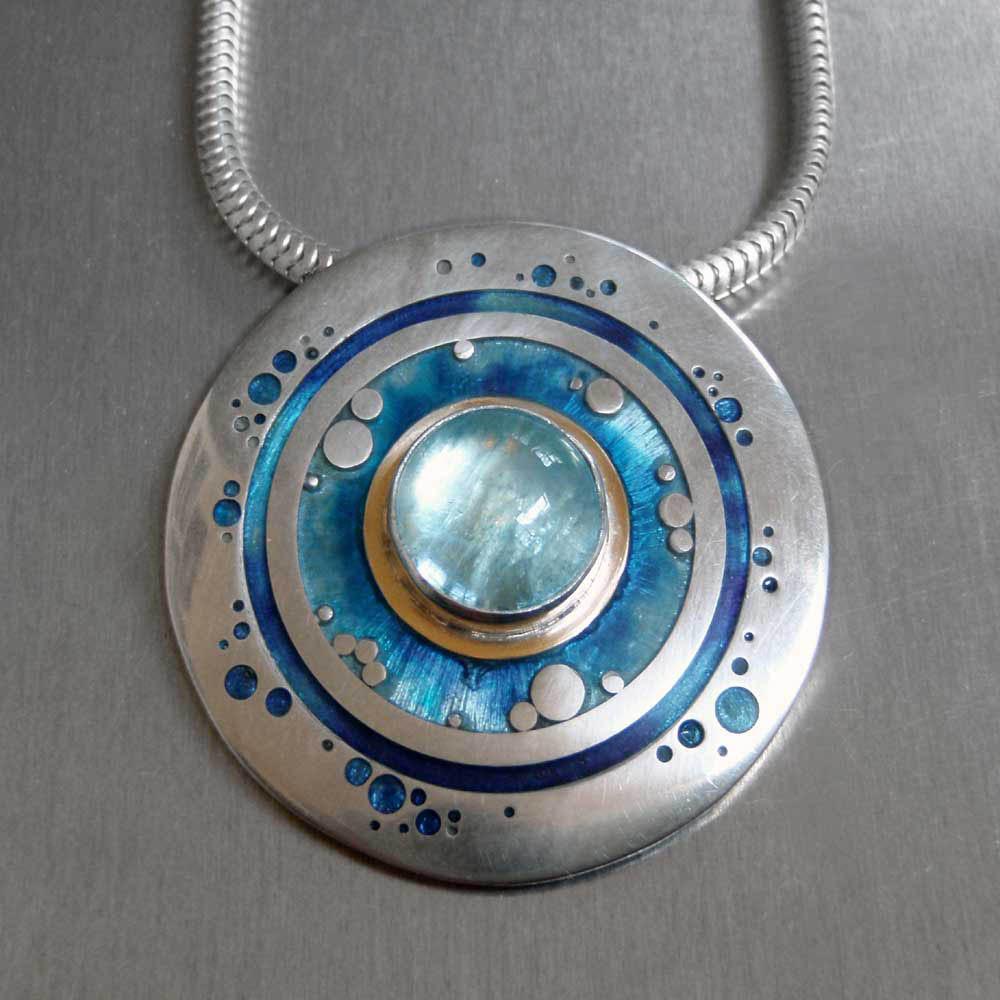 Aquamarine Circles Pendant by Abi Cochran