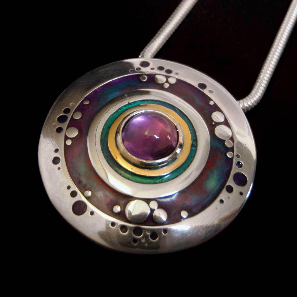 Amethyst Circles Pendant by Abi Cochran