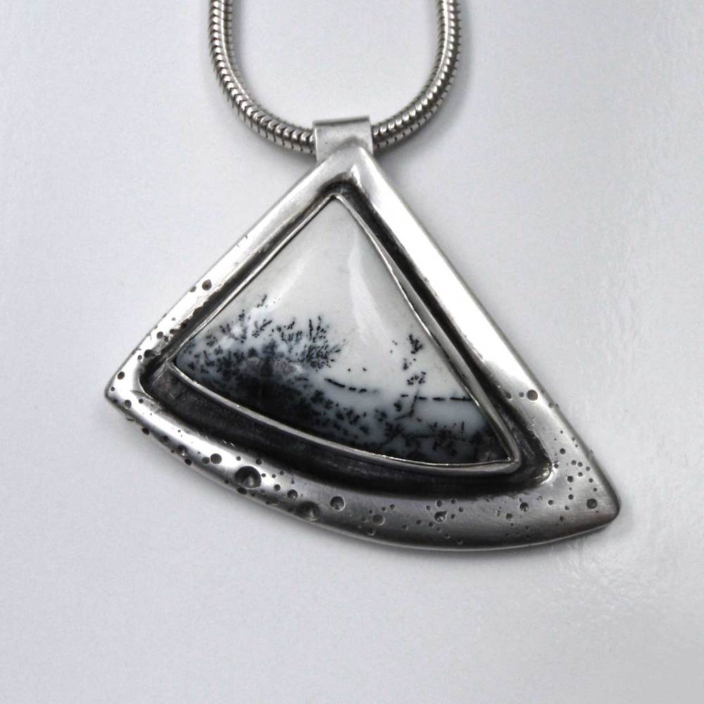 Snowscape Pendant with Dendrite Opal Made with Silver Clay