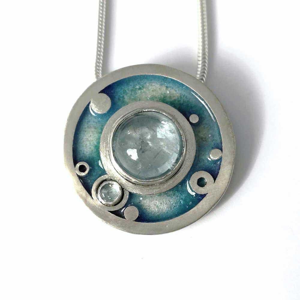 Aquamarine Circles Pendant