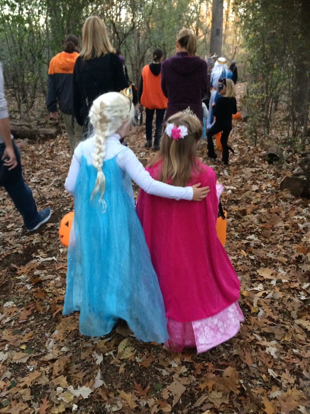 "Viola got spooked by a cardboard cut-out of a zombie in the woods (in broad daylight) but fortunately one of the Elsas helped her work through her fears. I think she said something about ""letting it go"", I can't be sure...."