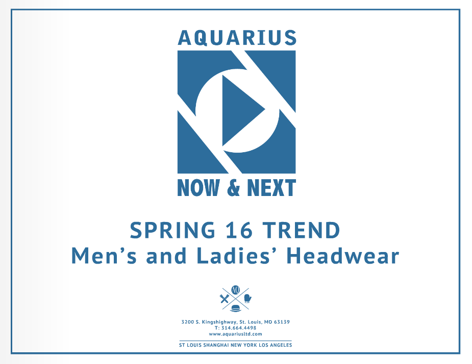 Spring 2016 Men's and Ladies' Headwear