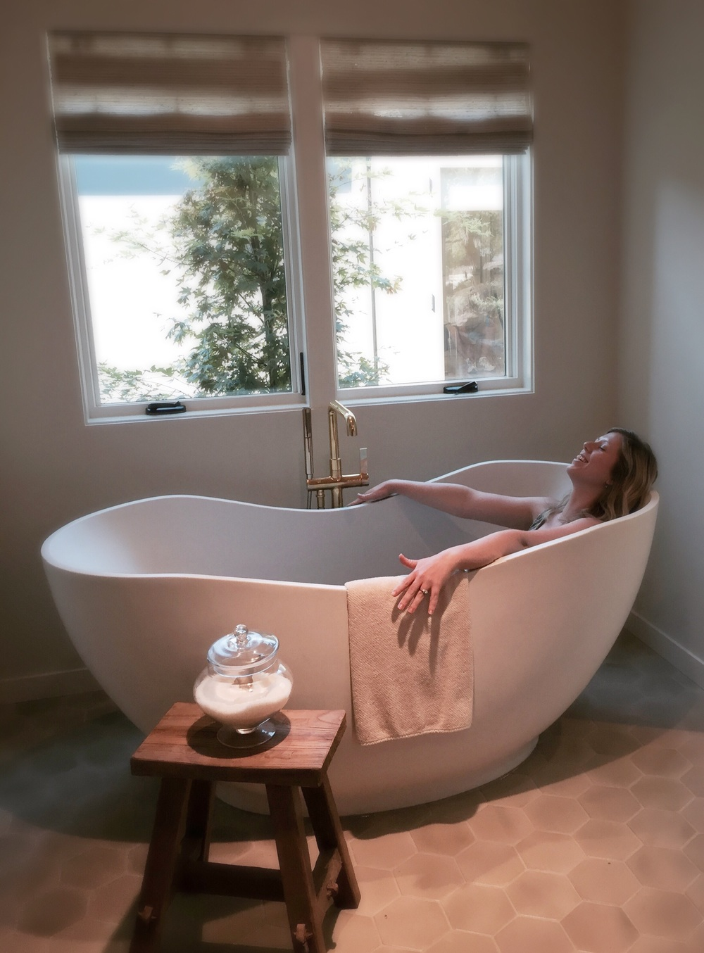 Meghan really liked this tub and if anyone deserves to relax, its this girl