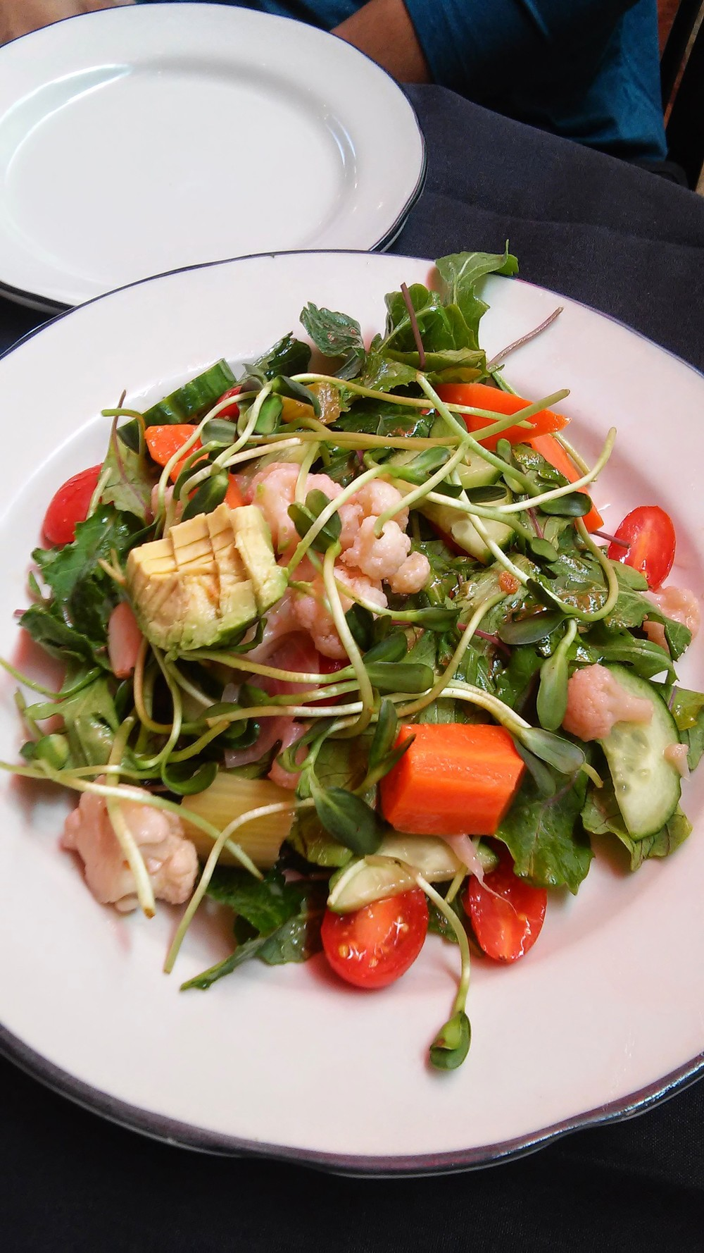 Berkeley House Salad -with seasonal greens, tomato, cucumber, pickled red onions, sunflower sprouts, croutons & simple lemon vinaigrette